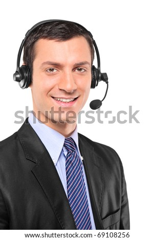Portrait of a young customer service operator wearing a headset isolated on white background - stock photo