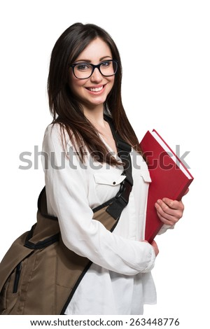 Portrait of a young cute student. Isolated on white - stock photo