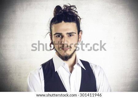Portrait of a young elengant attractive man - stock photo