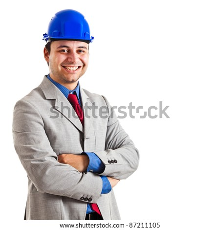 Portrait of a young engineer - stock photo