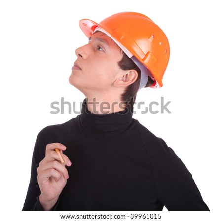 portrait of a young engineer  on white background