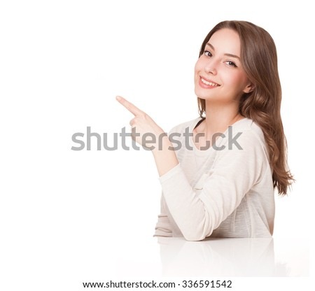 Portrait of a young, expressive, beautiful brunette woman. - stock photo