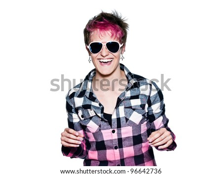 Portrait of a young expressive excited woman smiling in studio on white isolated background - stock photo