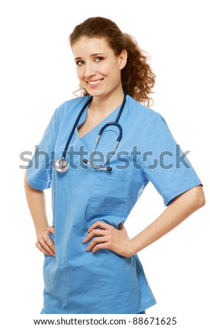 Portrait of a young female doctor isoalted on white backgrround - stock photo