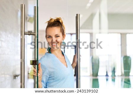 Portrait of a young female professional spa employee - stock photo