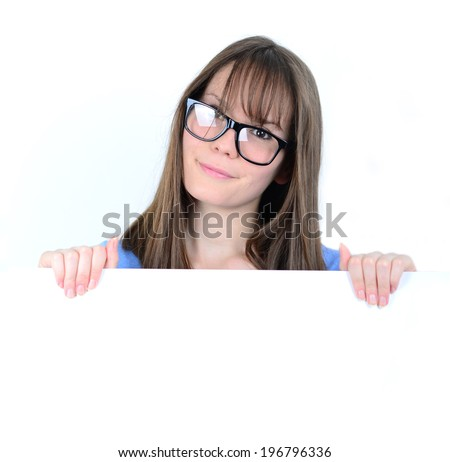 Portrait of a young female with with blank white board - stock photo