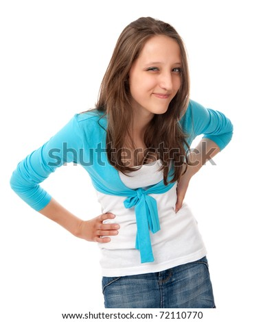 portrait of a young girl isolated on a white background - stock photo