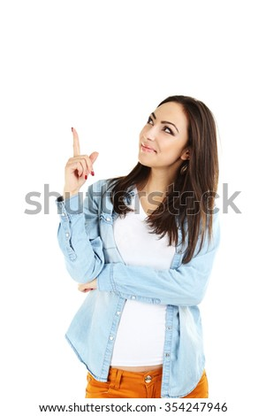 Portrait of a young girl on a white background - stock photo
