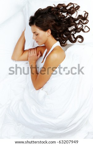 Portrait of a young girl sleeping - stock photo