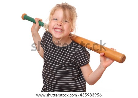Portrait of a young girl with baseball bat on white background - stock photo