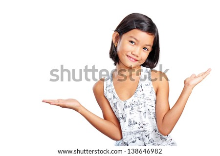 Portrait of a young girl with open hands facing upward - stock photo