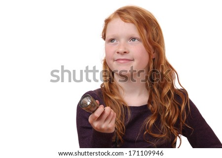 Portrait of a young girl with torch light on white background - stock photo
