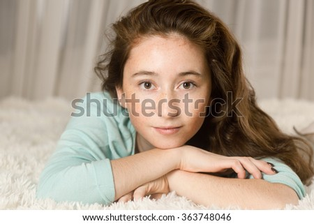 Portrait of a young girl, 17-18 years - stock photo