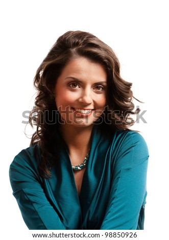 Portrait of a young gorgeous brunette with stunning eyes. - stock photo