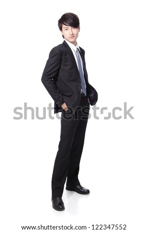 Portrait of a young handsome businessman standing isolated over white background, mode is a asian male - stock photo