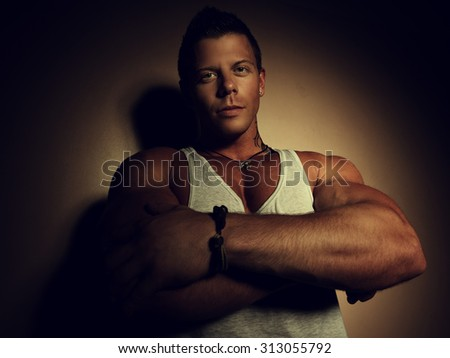 Portrait of a young handsome man - stock photo
