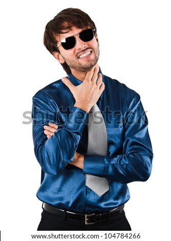 Portrait of a young handsome man isolated on white - stock photo