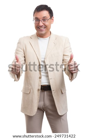 Portrait of a young handsome man showing thumbs up - stock photo