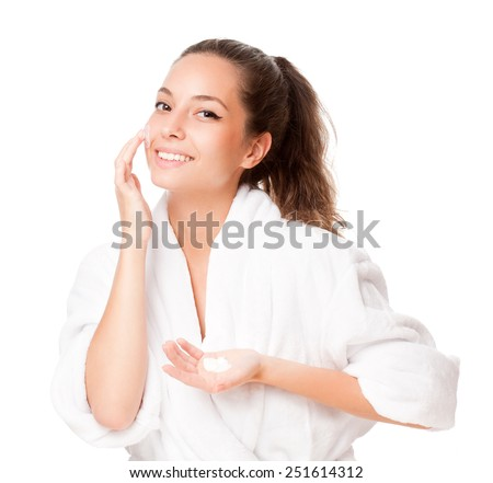Portrait of a young happy brunette cosmetic beauty. - stock photo