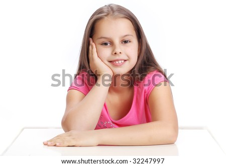 portrait of a young happy little girl - stock photo