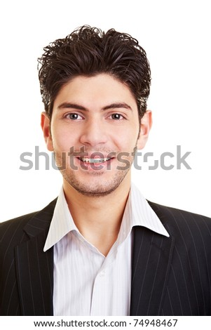 Portrait of a young happy smiling manager - stock photo