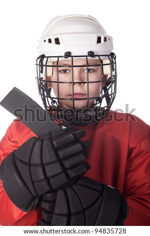 Portrait of a young ice hockey player in uniform isolated - stock photo