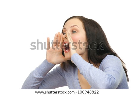 Portrait of a young lovely woman screaming out loud, isolated on a white background - stock photo