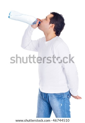 Portrait of a young man drinking water - stock photo