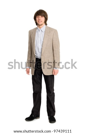 Portrait of a young man in a full length - stock photo
