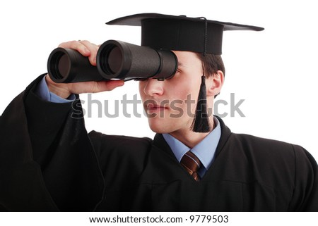 Portrait of a young man in an academic gown. future trends. Education background. - stock photo
