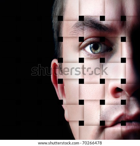Portrait of a young man, isolated on a black background with the effect of interlacing - stock photo