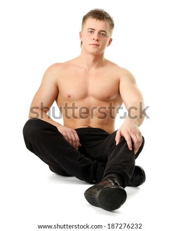 Portrait of a young man, isolated on white background - stock photo