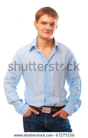 portrait of a young man isolated over white background - stock photo