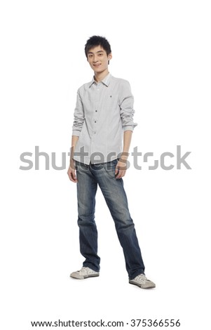 Portrait of a young man mid-air - stock photo