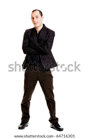 Portrait of a young man with a casual business look, isolated on white background - stock photo