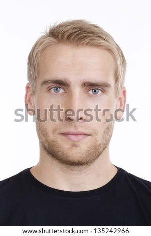 portrait of a young man with blond hair - isolated on white - stock photo
