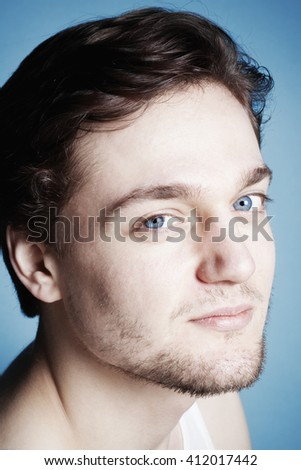 Portrait of a Young Man with Brown Hair. - stock photo