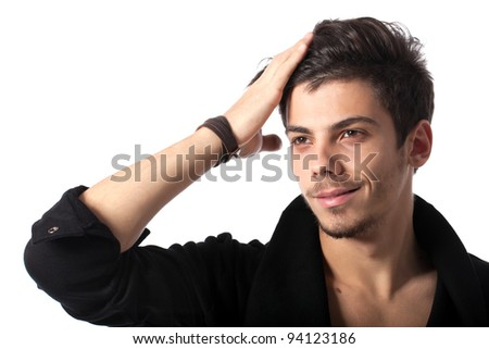 Portrait of a young man with cool hairstyle. Isolated on white background. Studio horizontal image. - stock photo