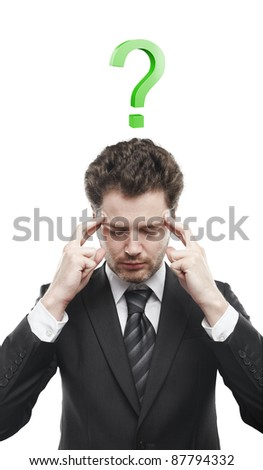 Portrait of a young man with green question mark above his head.Conceptual image of a open minded man. Isolated on a white background - stock photo