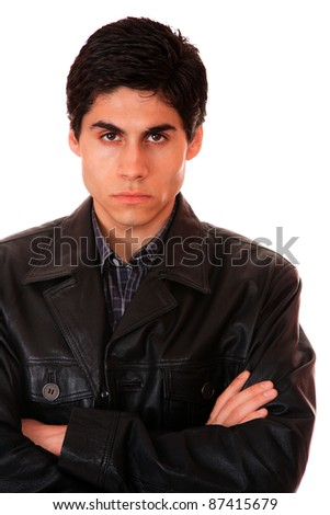 portrait of a young man with leather jacket