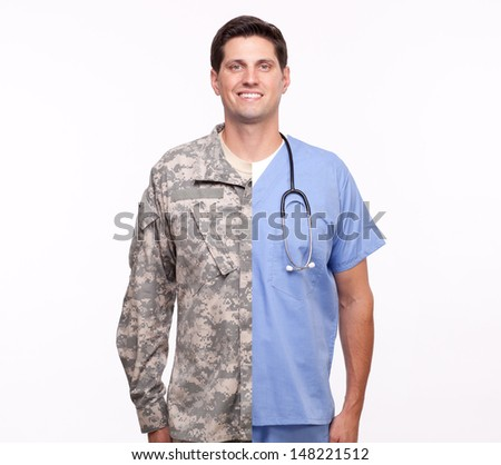 Portrait of a young man with split careers  - stock photo