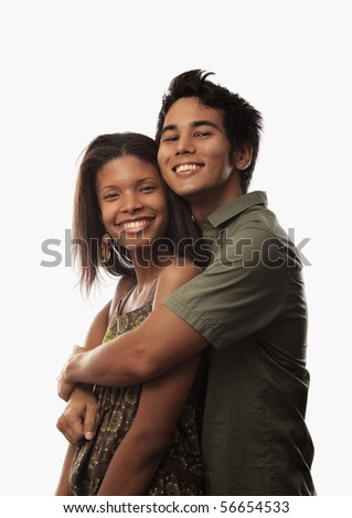 portrait of a young mixed couple - stock photo