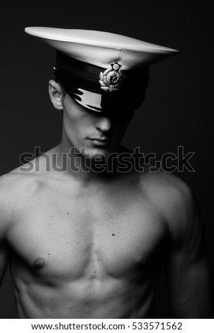 Portrait  of a young model in russain navy hat