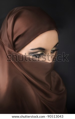 Portrait of a young   muslim girl - stock photo