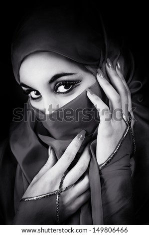 Portrait of a young muslim woman - stock photo