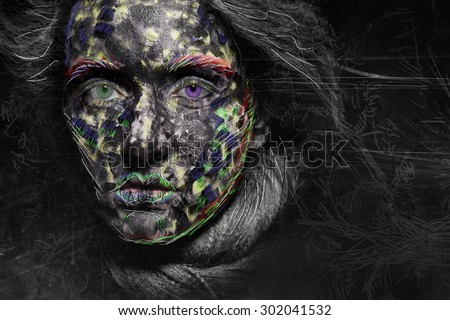 Portrait of a young mysterious alien woman with heterochromia different eye color - stock photo