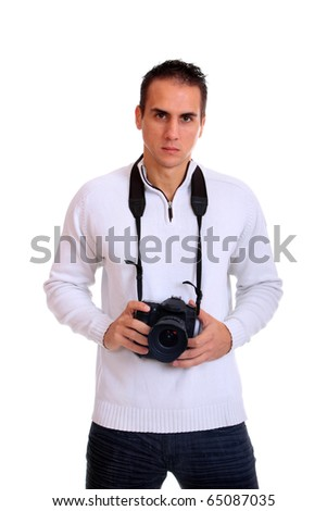 Portrait of a young photographer isolated over white background - stock photo