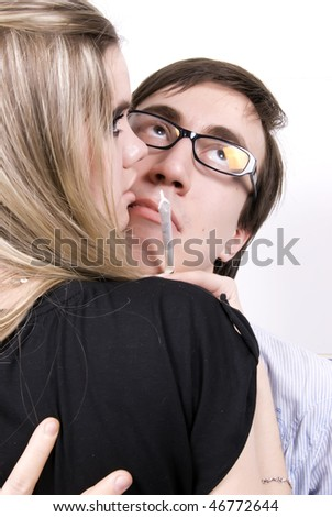 Portrait of a young prostitute and her modest male client - stock photo
