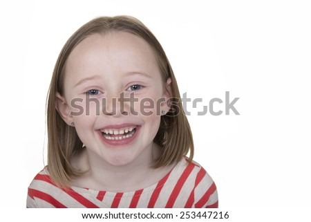 Portrait of a young school aged girl isolated - stock photo