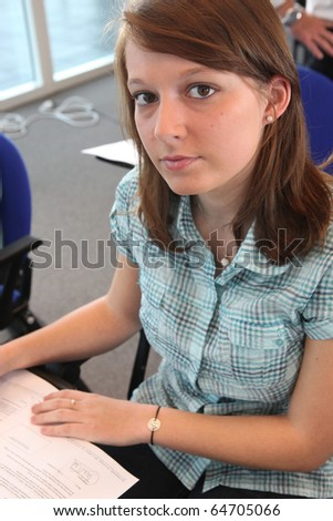 Portrait of a young student - stock photo